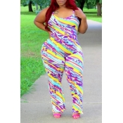 Lovely Casual Printed Multicolor Plus Size One-pie
