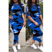 Lovely Casual O Neck Camouflage Printed Blue Ankle