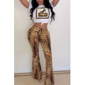 Lovely Casual Leopard Printed White Two-piece Pant