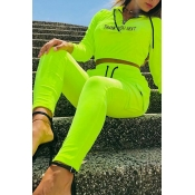 Lovely Casual Hooded Collar Green Two-piece Pants