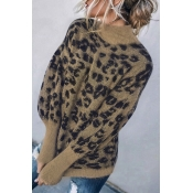 Lovely Leopard Patchwork Coffee Sweater