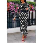 Lovely Casual Dot Printed Black Ankle Length Dress