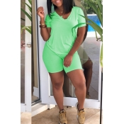Lovely Casual V Neck Light Green Two-piece Shorts Set
