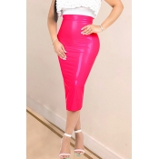 Lovely Casual Metallic Rose Red Skirts