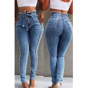 Lovely Casual Raw Edge Baby Blue Jeans