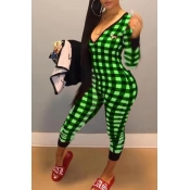Lovely Trendy Grid Printed Green Jumpsuit