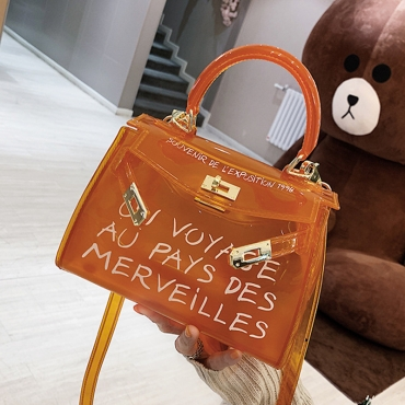 Lovely Stylish See-through Croci PVC Messenger Bag