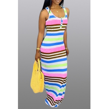 Lovely Casual Striped Light Pink Maxi Dress