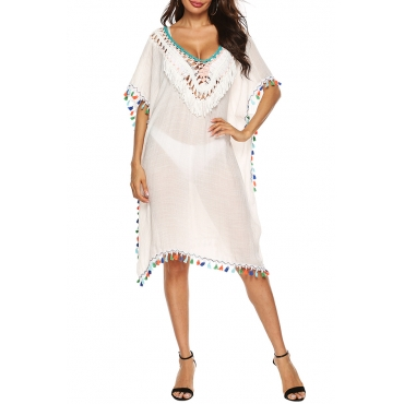 Lovely Sexy  V Neck See-through Tassel Design White Cover-up
