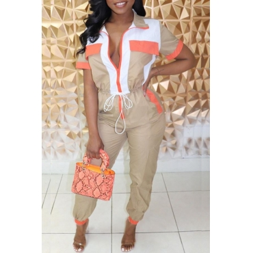 Lovely Stylish Patchwork Khaki One-piece Jumpsuit