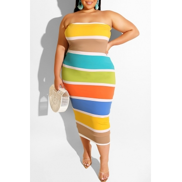 Lovely Sweet Off The Shoulder Striped Multicolor Mid Calf Plus Size Dress