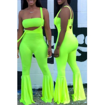Lovely Casual Spaghetti Straps Green Two-piece Pants Set