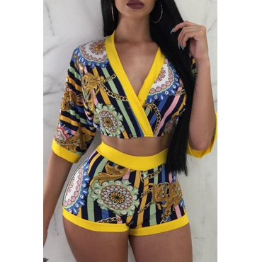 Lovely Casual V Neck Printed Yellow Two-piece Shorts Set