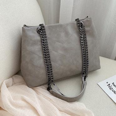 Lovely Stylish Grey PU Messenger Bag