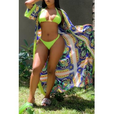 Lovely Halter Neck Multicolor Two-piece Swimwear(With Shawl)