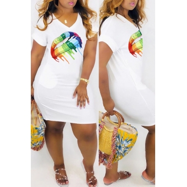 Lovely Casual V Neck Printed White Mini Dress