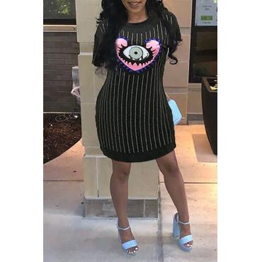 Lovely Casual O Neck Striped Printed Black Mini Dress