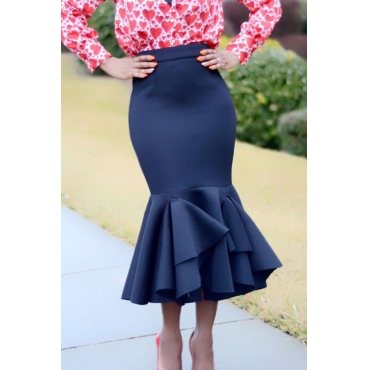 Lovely Stylish High Waist Ruffle Design Dark Blue Ankle Length A Line Skirt