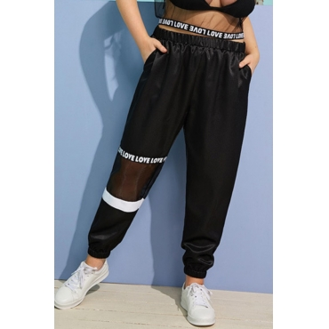 Lovely Casual Letter Printed Gauze Black Plus Size Pants
