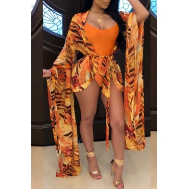Lovely Sexy U Neck Printing Orange One-piece Swimwear(With Cover-up)