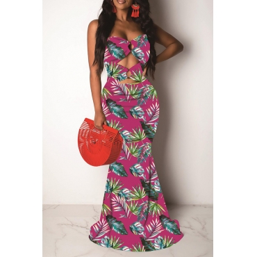 Lovely Sexy Off The Shoulder Printed Hollow-out Rose Red Floor Length Prom Dress
