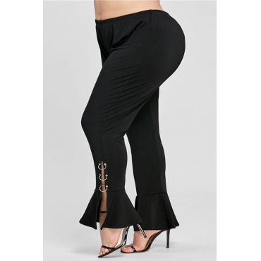Lovely Casual Horn-type Design Black Plus Size Pants