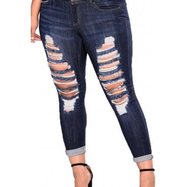 Lovely Stylish Broken Holes Deep Blue Plus Size Jeans