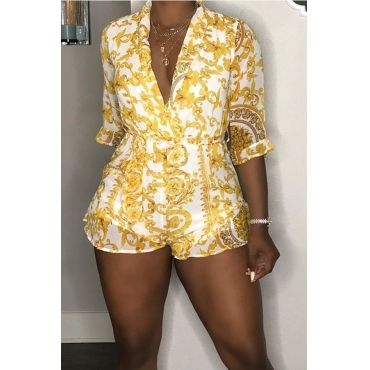 Lovely Casual V Neck Printed Yellow One-piece Romper