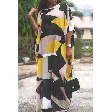 Lovely Casual O Neck Printed Multicolor Floor Length Dress