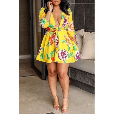 Lovely Sweet V Neck Printed Yellow Mini Dress