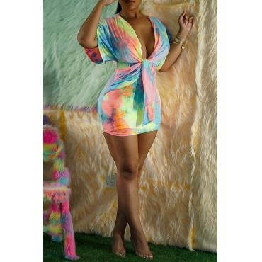 Lovely Casual V Neck Tie-dye Multicolor Mini Dress