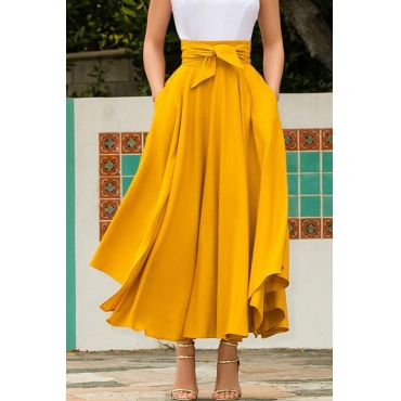 Lovely Sweet High Waist Yellow  Ankle Length A Line Skirt
