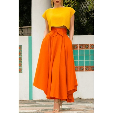 Lovely Sweet High Waist Croci Ankle Length A Line Skirt
