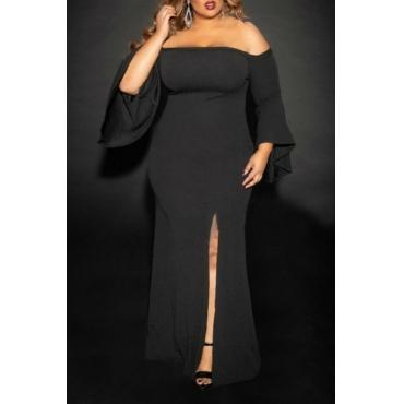 Lovely Casual Off The Shoulder Side Spit Black Floor Length Trumpet Mermaid Plus Size Dress