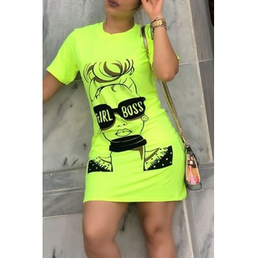 Lovely Casual Straight Print Green Mini T-shirt Dress