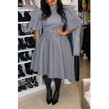 Lovely Casual Ruffle Striped Asymmetrical White Mid Calf Plus Size Dress