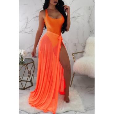 Lovely Sexy See-through Orange Two-piece Swimwear