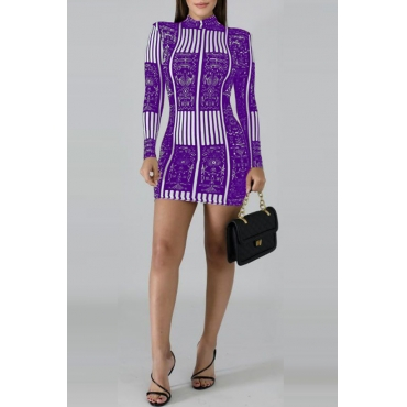Lovely Stylish Mandarin Collar Printed Purple  Mini Dress