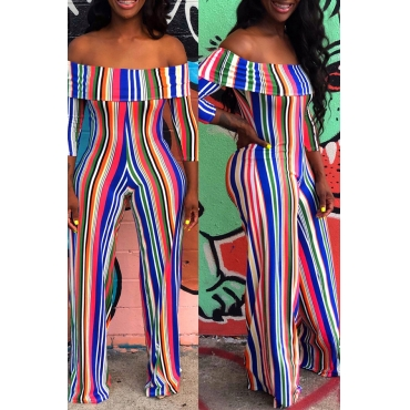 Lovely Chic Striped Printed Multicolor One-piece Jumpsuit