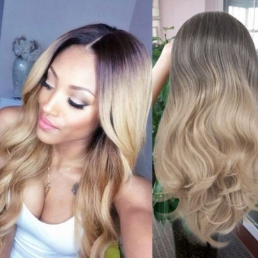 Lovely Trendy Natural Looking Long Wavy Gold Wigs