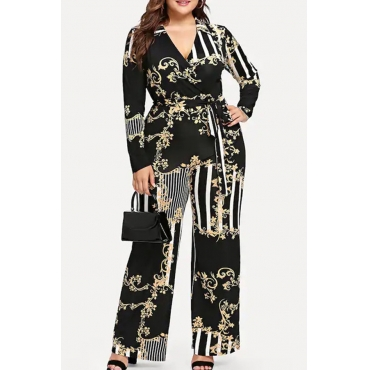 Lovely Casual Striped Black Plus Size One-piece Jumpsuit