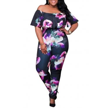 Lovely Casual Flounce Design Off The Shoulder Black Plus Size One-piece Jumpsuit