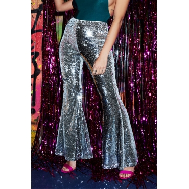 Lovely Trendy Sequined Sliver Pants