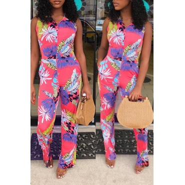 Lovely Trendy Sleeveless Printed Multicolor One-piece Jumpsuit