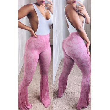 Lovely Chic Printed Pink Flared Pants