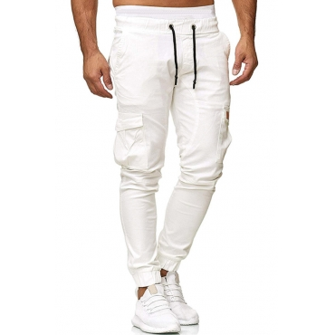 Lovely Casual Pockets Design White Pants