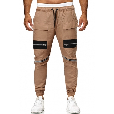 Lovely Casual Pockets Design Khaki Pants