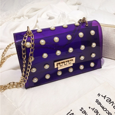 Lovely Trendy Chain Strap See-through Purple Crossbody Bag