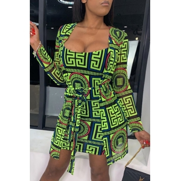 Lovely Casual Printed Green Two-piece Skirt Set