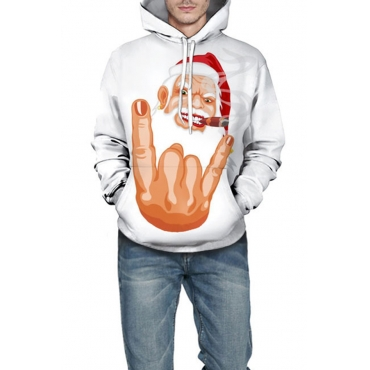 Lovely Casual Hooded Collar Hand Printed White Hoodies